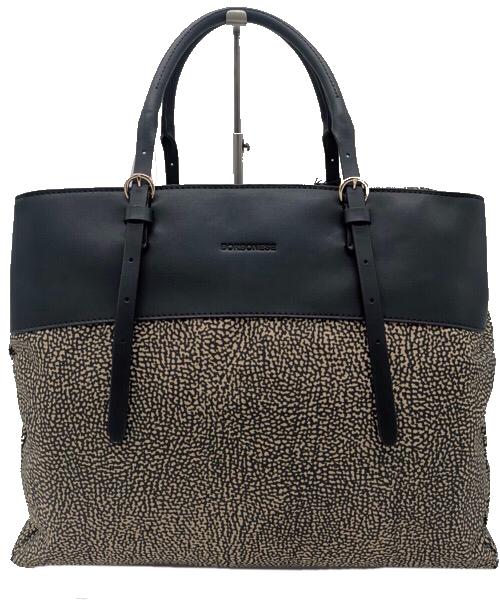 Borbonese Shopping bag medium con fascia  in pelle nera