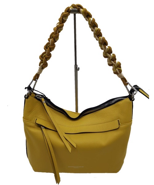 BORSA GIANNI CHIARINI 7600 IN PELLE MARTELLATA COLOR GIALLO