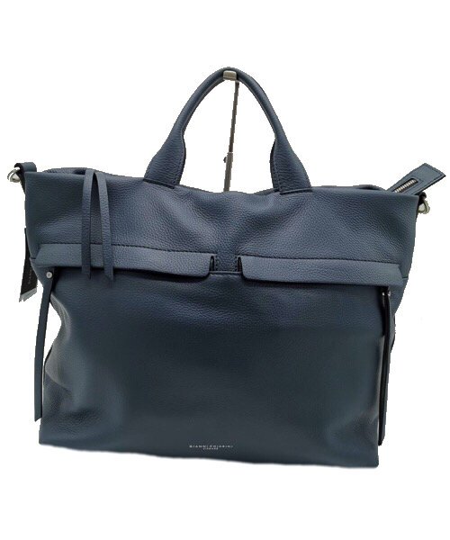 Shopping bag in pelle  blu Gianni Chiarini 7602